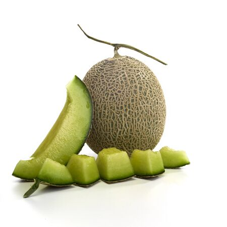 Fresh green melon and slice or cantaloupe melons on white background Imagens