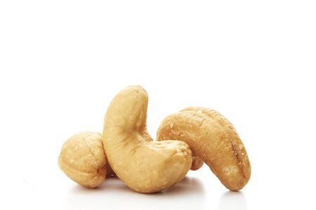 Close up of Roasted cashew nut isolated on white background