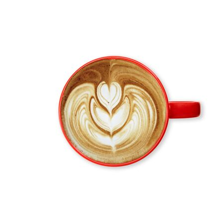Red cup coffee on a white background. top view copy space for text