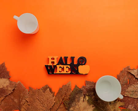 Collection Halloween and autumn frame party with decorations overhead on orange Stock Photo
