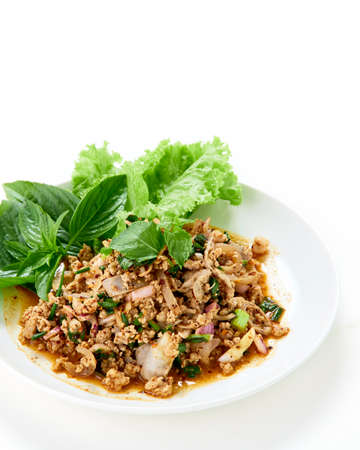 Thai food Spicy minced pork salad served with fresh vegetable on white Archivio Fotografico