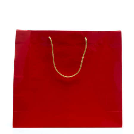 Black friday Red paper shopping bag isolated on white