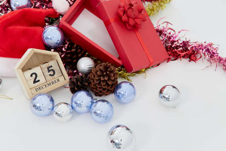 Christmas countdown Wooden block calendar and decor on the white table