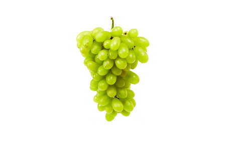 Tasty Bunch of fresh white grapes in mid-air on a white background