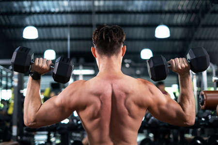 Back view of attractive portrait man lifting dumbbells with both hands in the sport fitness gym. Weight training muscles. Show body muscle biceps, triceps. Healthy lifestyle and exercise concept. Foto de archivo