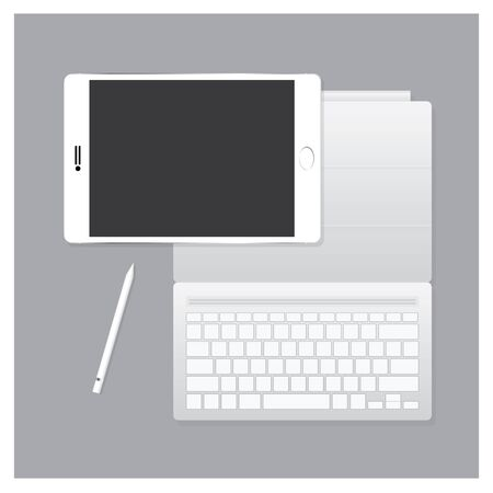 retouch: White Tablet Pro with Keyboard Case and Pen Vector Illustration