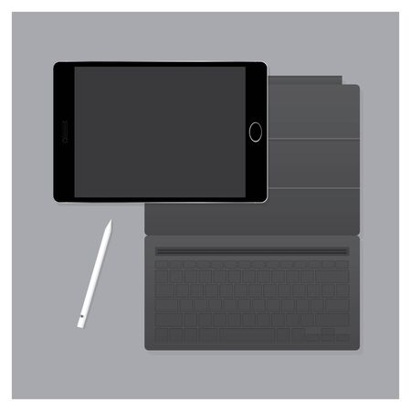 retouch: Black Tablet Pro with Keyboard Case and Pen Vector Illustration