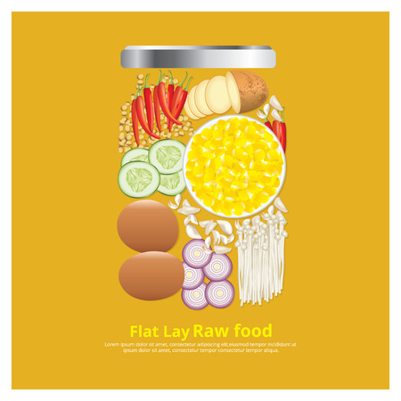 lay: Flat Lay Design Ingredients for Food on Bowl Outline vector Illustration