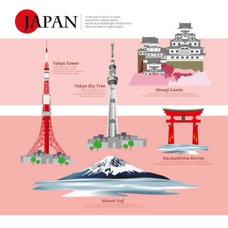Japan Landmark and Travel Attractions Vector Illustration?