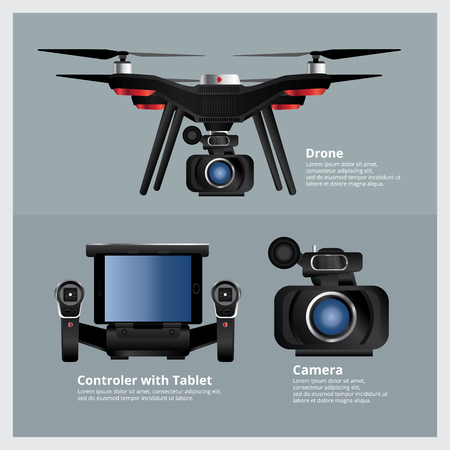 vdo: Drone with VDO Camera and Controller Vector Illustration Illustration