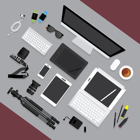 laptop mobile: Flat Design. Graphic Designer Workplace concept