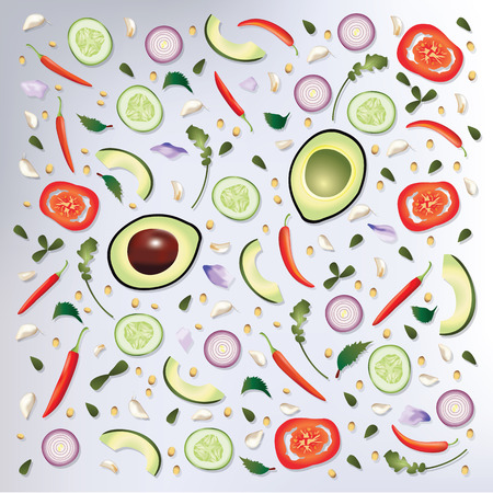 raw food: Colorful pattern Raw Food Background Vector Illustration