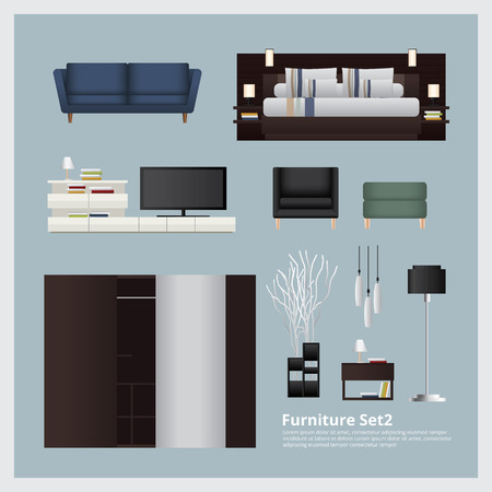 home decoration: Furniture and Home Decoration Set Vector Illustration