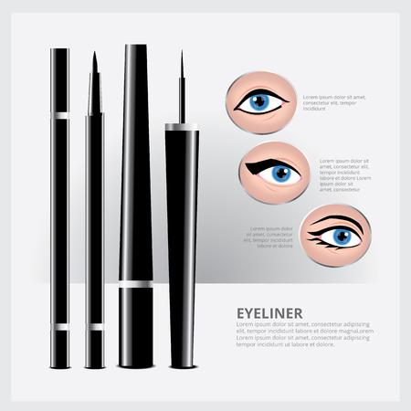 eyeliner: Eyeliner Packaging with Types of Eye Makeup Illustration