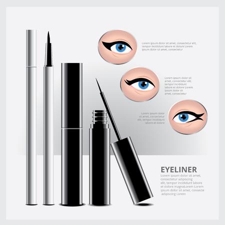 eye makeup: Eyeliner Packaging with Types of Eye Makeup Illustration