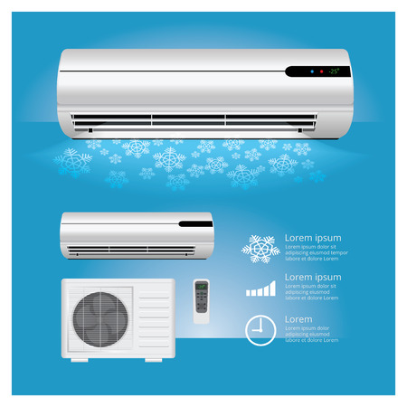 Air Conditioner Realistic and Remote Control with Cold air Symbols Illustration