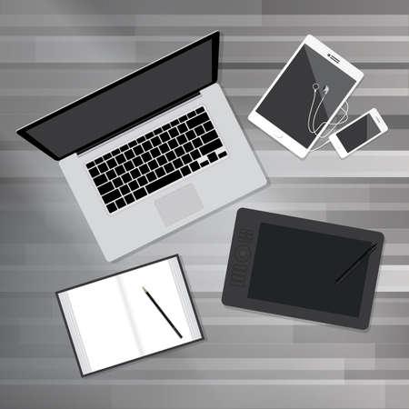 office desktop: Creative Office Desktop Workspace. Flat design mock up Illustration
