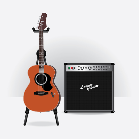 Acoustic Electric Guitar with Guitar amplifier vector illustration