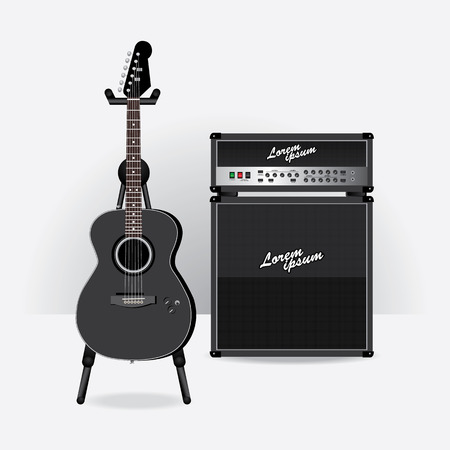 guitar amplifier: Acoustic Electric Guitar with Guitar amplifier vector illustration