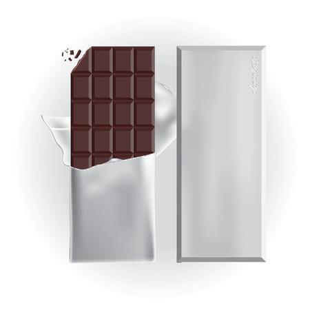 wrap: Chocolate Bar with Foil Wrap Illustration Illustration