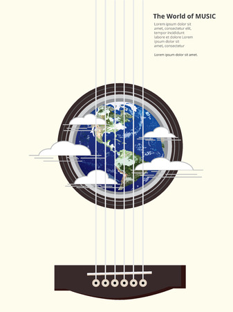 lead guitar: The World of Music Poster Illustration Illustration