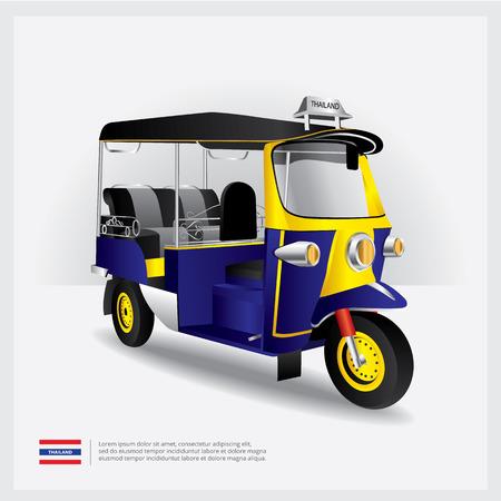 Thailand Tuk Tuk Car Illustration  イラスト・ベクター素材