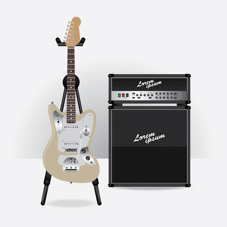 guitar amplifier: Electric Guitar with Guitar amplifier vector illustration Illustration