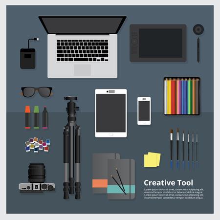 publicidad exterior: Creative Tool Workspace isolated vector illustration Vectores