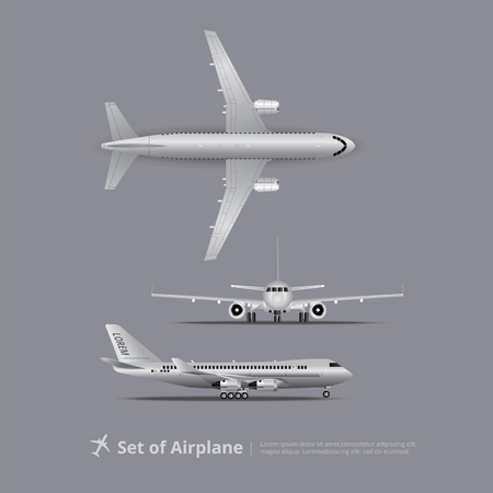 Set of Airplane Isolated Vector Illustration
