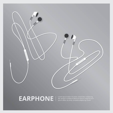 earpiece: Music Earphones  vector illustration