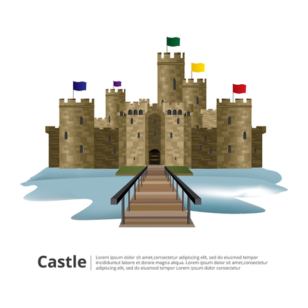 Medieval castle with High tower and Wall vector illustration