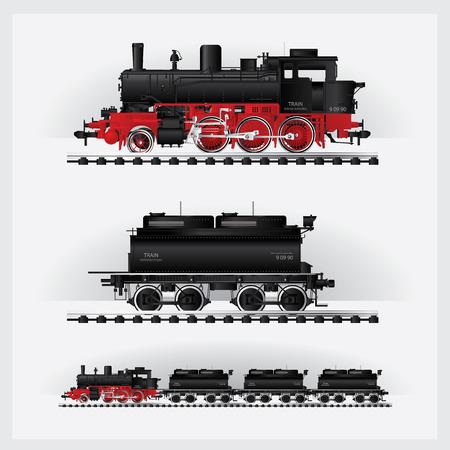 Classic Cargo train on a rail road Vector illustration Illustration