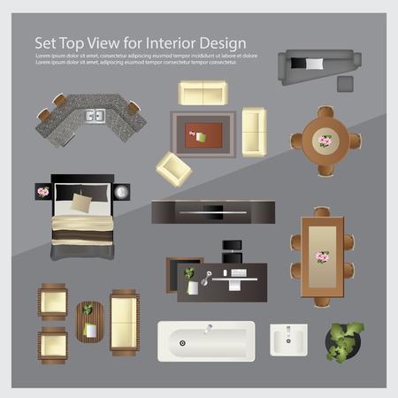 인테리어 디자인에 대한 상위 뷰를 설정합니다. 고립 된 일러스트 레이션