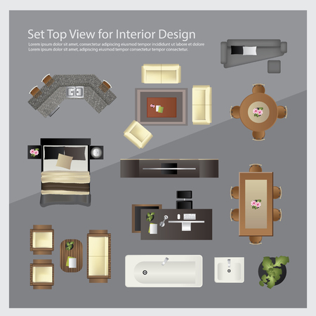 Set top view for interior design. Isolated Illustration