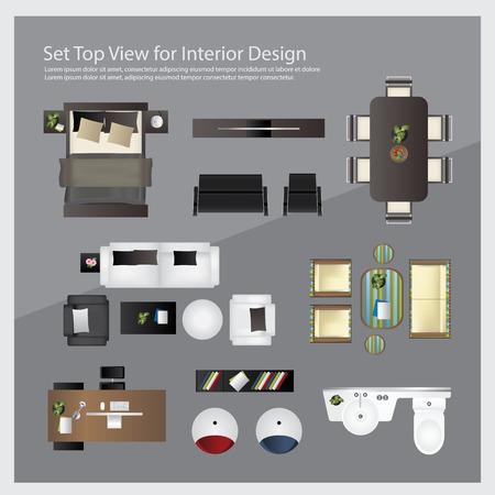 dinning: Set top view for interior design. Isolated Illustration