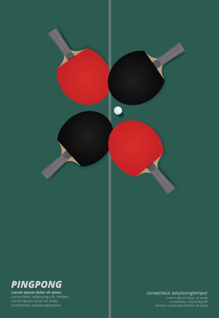 indoor court: Pingpong Poster Template Vector Illustration
