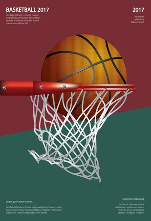 Basketball Poster Advertising Vector Illustration  イラスト・ベクター素材