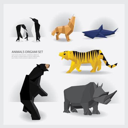 Animals Origami set Vector Illustration