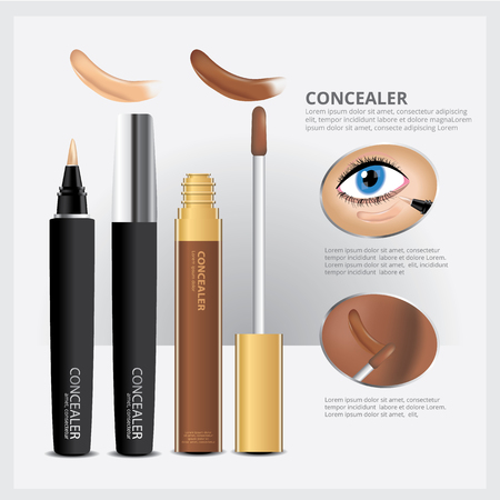 Concealer Cosmetic Package with Face Makeup Vector Illustration