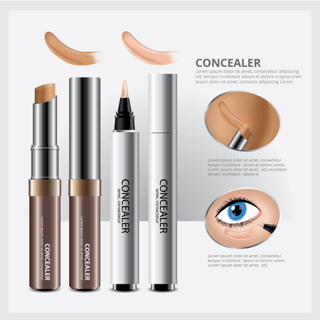 Concealer Cosmetic Package with Face Makeup Vector Illustration Vektorové ilustrace