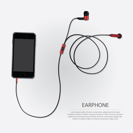 earpiece: Music Earphones with Telephone vector illustration