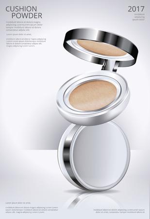 Make-up Pulver Kissen Poster Vorlage Vektor-Illustration Vektorgrafik