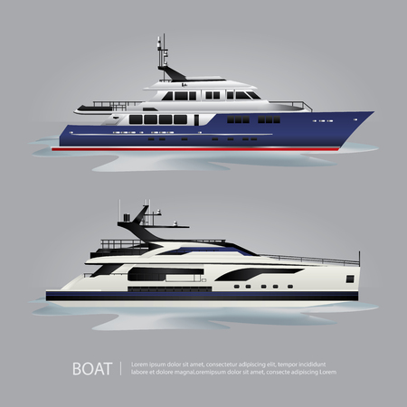 Transportation Boat Tourist Yacht to Travel Illustration.