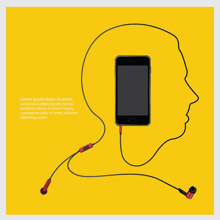 Conceptual Earphones with Telephone vector illustration
