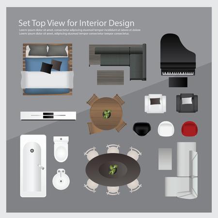 Ustaw widok z góry na projekt wnętrza. Izolowane Ilustracja