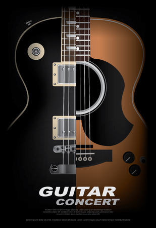 Guitar Concert Poster Background Template Vector Illustration 向量圖像
