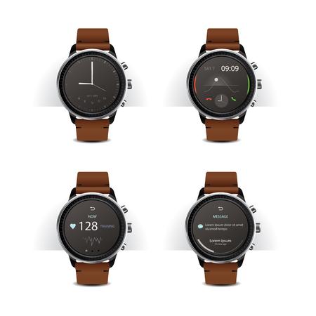 cronógrafo: Smart Watch with Digital Display Set Vector Illustration