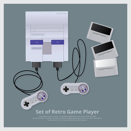 Platte set van Retro Game Player en accessoires vectorillustratie Stock Illustratie