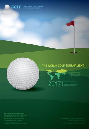 Poster Golftoernooien kampioenschap vectorillustratie Stock Illustratie