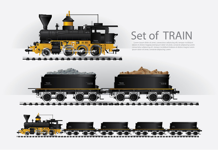 Tren de carga en una ilustración de Vector de carretera de ferrocarril